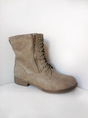 Schnürer Boots - Stiefeletten mit Reißverschluss - Schuhe - Taupe Grau Braun - Größe 37