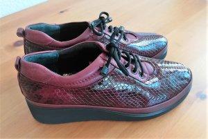 Zapatos brogue burdeos-negro Cuero