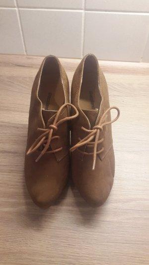 Schnürpumps / Pumps / high heels/ cognacfarben / plateau