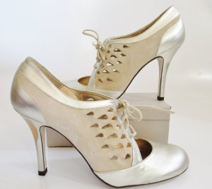 Topshop High-Front Pumps silver-colored-oatmeal imitation leather