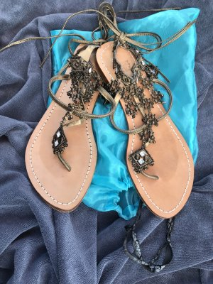 Beach Sandals black-sand brown leather