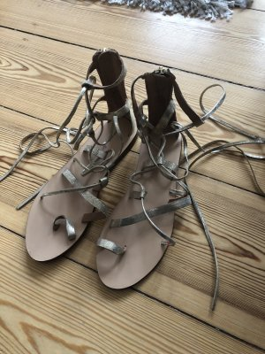 H&M Strapped High-Heeled Sandals gold-colored-cream