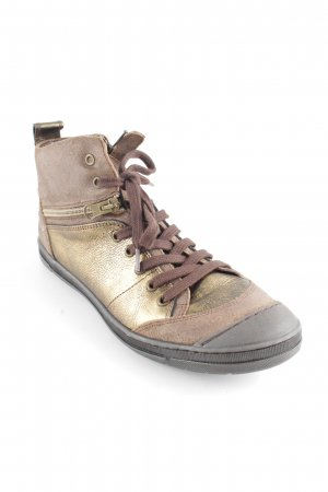 Lace Shoes gold-colored-light brown casual look