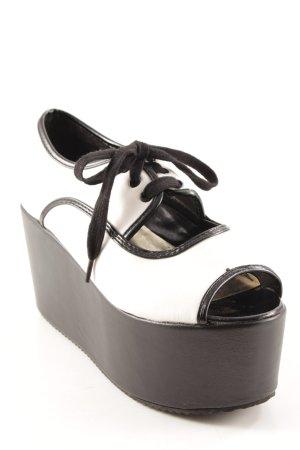 Zapatos brogue blanco-negro bloques de color estilo punk