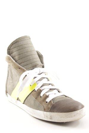 Schnürsneaker graubraun-gelb Destroy-Optik