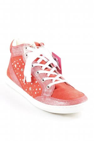 Lace-Up Sneaker bright red-white star pattern glittery