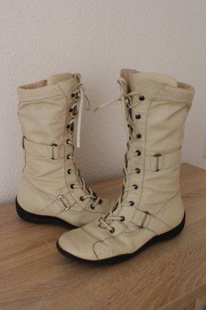 Schnürstiefel Boxer-Stiefel Leder Beige 39 40