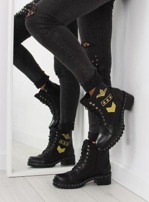 Schnürstiefel Schnürschuhe Halbschuhe NEU Boots Gold Patches Stiefel 77-5 Stiefeletten Biker Military USA Look Gothic Absatz Stiefel Größe 38 39 40 41