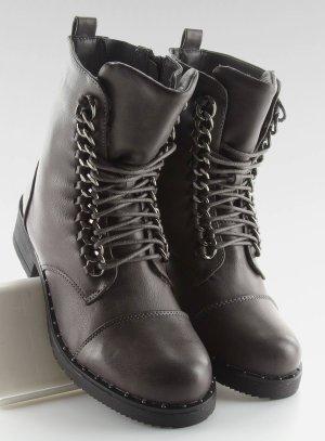 Schnürstiefel Schnürschuhe Halbschuhe NEU Boots Reißverschluß grau 30716 Stiefel Stiefeletten Biker Military USA Look Gothic Absatz Stiefel Größe 36 37 38 39 40