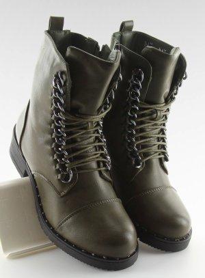 Schnürstiefel Schnürschuhe Halbschuhe NEU Boots  Reißverschluß Khaki 30716 Stiefel Stiefeletten Biker Military USA Look Gothic Absatz Stiefel Größe 37 37 38 39 40 41