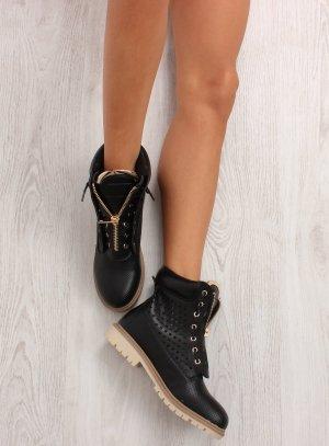 Schnürstiefel Schnürschuhe Schnürboots Blogger Schuhe Damen Stiefel Gold Detail zum Schnüren Feste Sohle mit Reißverschluss Halbschuhe Größe 38 39 40
