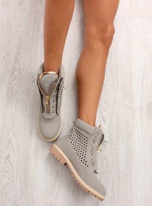 Schnürstiefel Schnürschuhe Schnürboots R103 Blogger Schuhe Damen Stiefel Gold Detail zum Schnüren Feste Sohle mit Reißverschluss Halbschuhe Größe 36 37 38 39 40 41