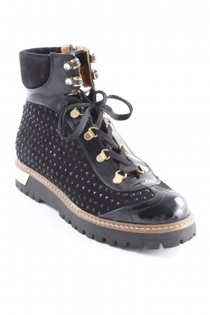 Lace-up Boots black-gold-colored leather-look