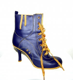 Bamboo Lace-up Booties blue violet imitation leather