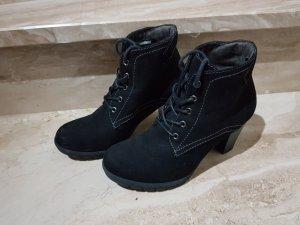 Schnürstiefelette Stiefel Stiefelette schwarz velourleder