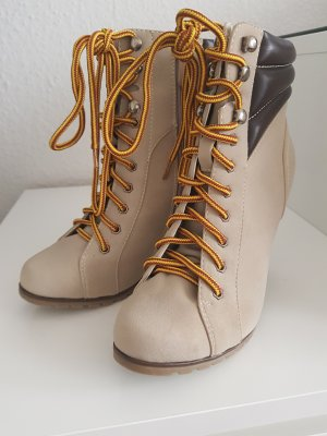 SDS Lace-up Booties beige
