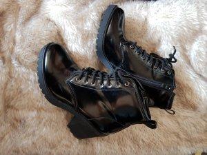 Bottines à lacets noir synthétique