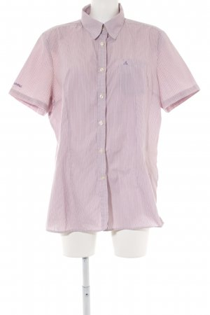 Schöffel Kurzarm-Bluse blasslila-braunviolett Streifenmuster Casual-Look