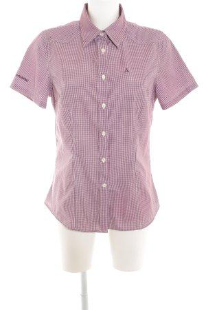 Schöffel Kurzarmhemd brombeerrot-wollweiß Karomuster schlichter Stil