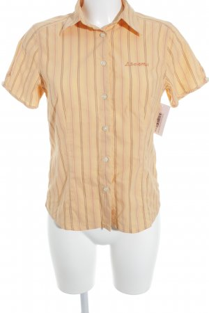 Schöffel Short Sleeve Shirt light orange-beige striped pattern casual look