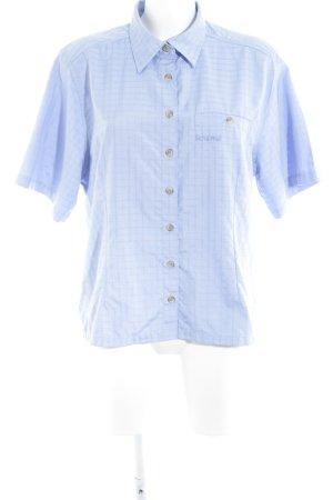 Schöffel Camisa de manga corta azul celeste estampado a cuadros