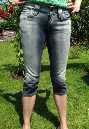 Be only 7/8 Length Trousers steel blue-blue cotton