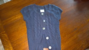 H&M Short Sleeve Knitted Jacket blue-dark blue cotton