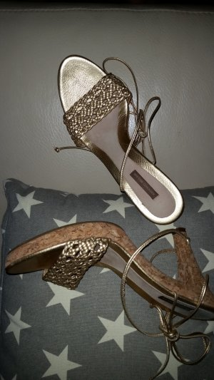 High Heel Sandal gold-colored leather