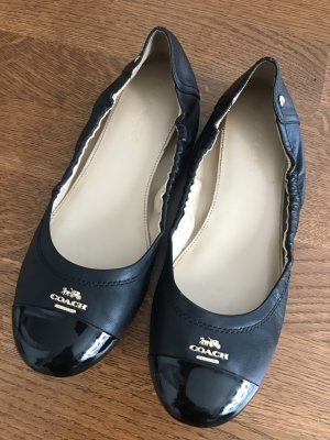 Coach Patent Leather Ballerinas black-gold-colored