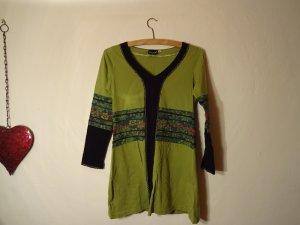 Schöne Baumwoll-Tunika von Yamuna Art in grün und schwarz