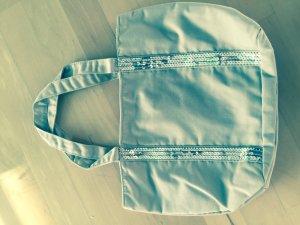 Schöne Beige Tasche mit silbernen Pailetten, neu