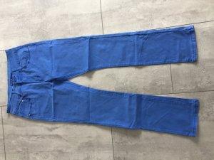 Tube jeans neon blauw-staalblauw