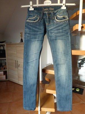 Schöne Blue Slim Jeans mit Weste  wie Neu Gr.32 Stretch