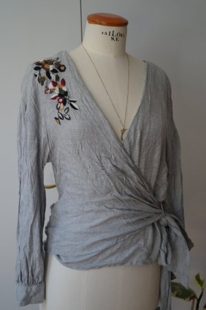 Stradivarius Wraparound Blouse light grey viscose
