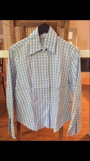 Schöne Bluse, Businessbluse, blau-weiß-kariert, Gr 42