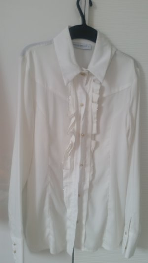 Glanzende blouse wolwit-wit