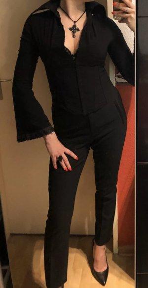 Schöne Bluse in schwarz Corsage Spitze Gr. 34