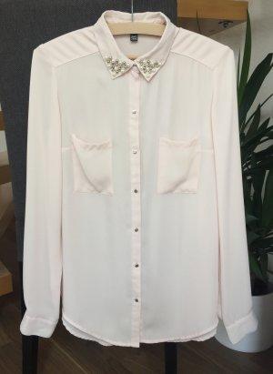 Schöne Bluse mit Perlen Gr. S / 36-38 rosé rosa pastell Taschen Kragen perlenbesetzt langarm hellrosa leicht transparent