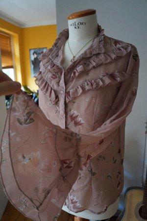 Schöne Bluse mit Rüschen und Blumen Muster Gr.38
