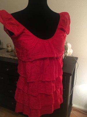 Hallhuber Ruche blouse rood-donkerrood