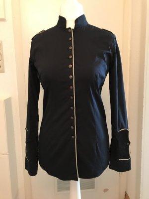 Aglini Long Sleeve Blouse dark blue-natural white