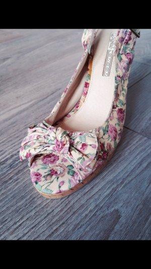 Schöne Buffalo London Wedges High Heels Flowerprint Gr 38 Sandalen Peeptoes Sandaletten