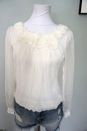Blusa de manga larga blanco-blanco puro