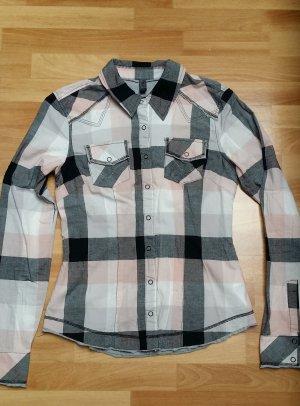 schöne Damen Bluse/ karient in schwarz-grau-rosa-weiß/ ONLY/ S small