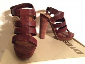 Diesel Strapped High-Heeled Sandals brown leather
