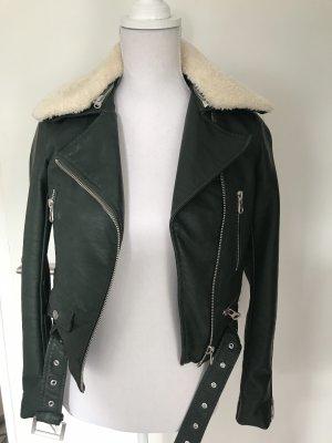 Zara Veste en cuir synthétique vert foncé-vert forêt