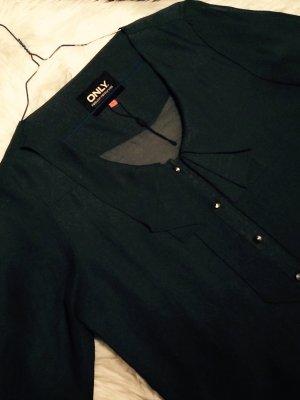 Schöne dunkelgrüne transparente only Bluse mit Schleife, 36