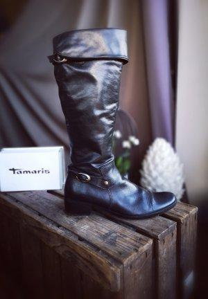 Tamaris Kaplaarzen zwart-zilver Leer