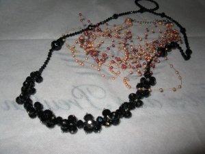Schöne, elegante Ketten - Perlenvariationen, schwarz u. nude