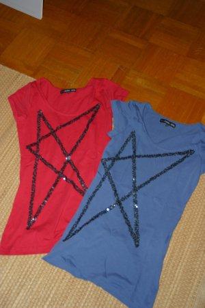 Schöne EVEN & ODD Tshirt rot + blau mit Pailetten in Sternform, Gr: S